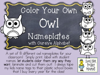COLOR YOUR OWN Owl Nameplates w/ Cursive Alphabet ~ 8 Diff