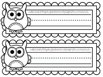 COLOR YOUR OWN Owl Nameplates w/ Print Alphabet ~ 8 Different Versions