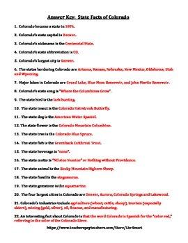COLORADO FACTS UNIT (GRADES 3 - 5)