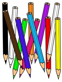 COLORED PENCILS CLIPART * COLOR AND BLACK AND WHITE