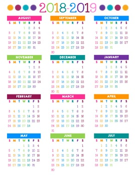 COLORFUL AUG 2018 - JULY 2019 Calendar - Monthly & Weekly Teacher Planner