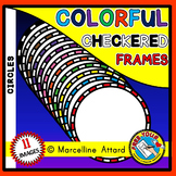 CIRCLE FRAMES CLIPART: COLORFUL CIRCLE CHECKERED FRAMES CLIPART