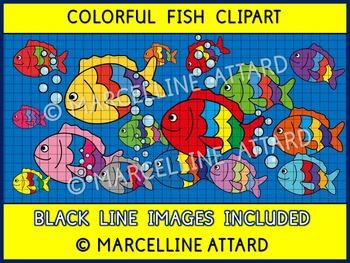 COLORFUL FISH CLIPART + BUBBLES CLIPART: SUMMER CLIPART