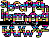 COLORFUL MULTI-COLOR STRIPES! * Bulletin Board Letters *  Lower Case * Alphabet