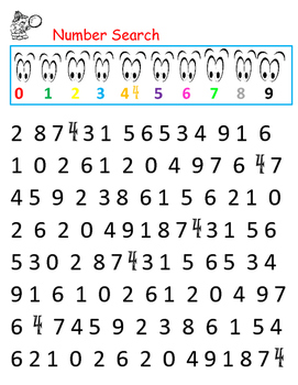 COLORFUL Number Search Recognition 0-9 Counting Math Center Differentiation