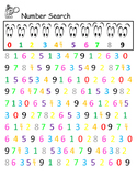 COLORFUL Number Search Recognition 0-9 Counting Math Cente