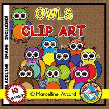 FALL CLIPART: RAINBOW OWLS CLIPART: AUTUMN CLIPART