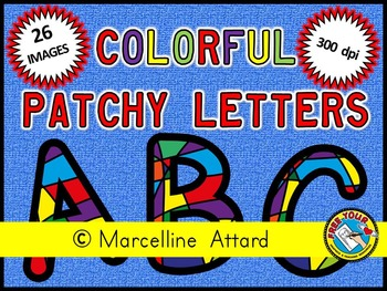 COLORFUL PATCHY ALPHABET CLIPART: COLORFUL PATCHY CLIPART LETTERS