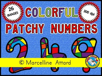 COLORFUL PATCHY NUMBERS CLIPART: NUMBERS 0 TO 9: BACK TO S