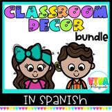Decoración para la clase   Colorful Classroom Decor Bundle in Spanish