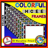 WHITE AND BRIGHT CHECKERED BORDERS AND FRAMES CLIPART (SQUARE SHAPE)