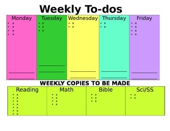 COLORFUL Weekly To Do-EDITABLE