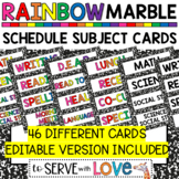 RAINBOW and Black & White Marble / Schedule Subject Cards / editable option