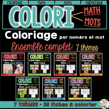 COLORI - MATH ET MOTS - ENSEMBLE GRANDISSANT - French Colour by number and word