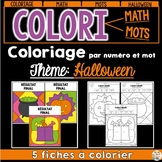 COLORI - MATH ET MOTS - Thème: Halloween - French Colour by number and word