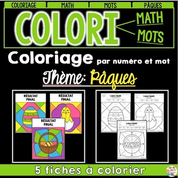 COLORI - MATH ET MOTS - Thème: Pâques - French Colour by number and word