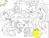 COLORING PAGE DINOSAURS AND SHAPES