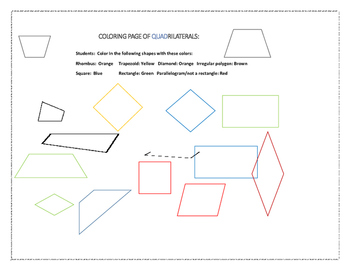 COLORING PAGE OF QUADRILATERALS