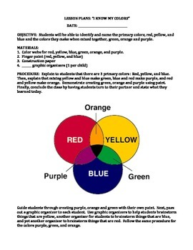 COLORS: LESSON PLAN, EXAMPLES, ORGANIZERS (GRADES K - 2)