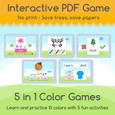 COLORS - Learn & practice   5 Interactive PDF Games - No print