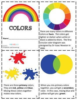 COLORS Mini Reader, Vocabulary Cards, & Color Mixing Activity