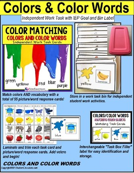 """COLORS and COLOR WORDS Task Cards """"Task Box Filler"""" for Autism and Special Needs"""