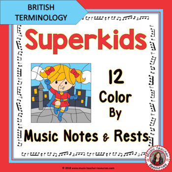 COLOUR by MUSIC Notes and Rests Superhero Theme