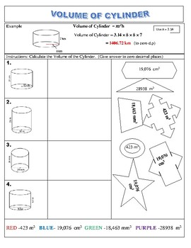 COLOURING ACTIVITY - Measurement Volume of Cylinder