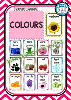 Back To School - COLOUR CHART - Classroom Decor - Chevron - Colours