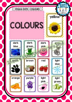 Back To School COLOUR CHART - Classroom Decor - Polka Dots - Colours
