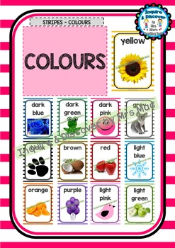 Back To School - COLOURS CHART - Classroom Decor - Stripes - Colours