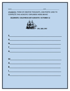 COLUMBUS DAY ACROSTIC- POETRY AND HISTORY!