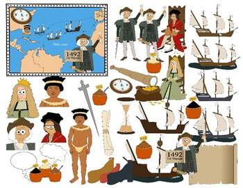 COLUMBUS DAY CLIP ART * COLOR AND BLACK AND WHITE