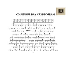 COLUMBUS DAY CRYPTOGRAM