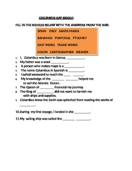 COLUMBUS DAY RIDDLE ACTIVITY