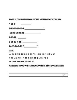COLUMBUS DAY SECRET MESSAGE ACTIVITY