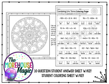 COMBINING LIKE TERMS & DISTRIBUTIVE PROPERTY MATH COLOR BY NUMBER, QUIZ