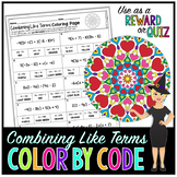 Combining Like Terms & Distributive Property Math Color By Number or Quiz #2