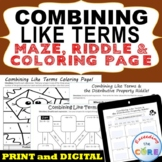 COMBINING LIKE TERMS Maze, Riddle, Color by Number Coloring Page Math Activities