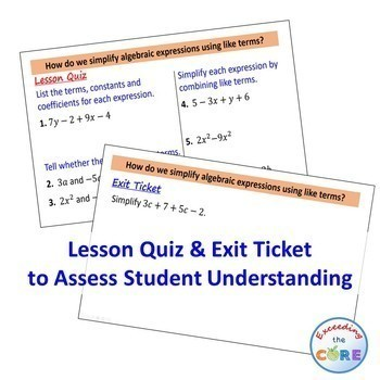 COMBINING LIKE TERMS (Simplifying Expressions) PowerPoint Mini-Lesson & Practice