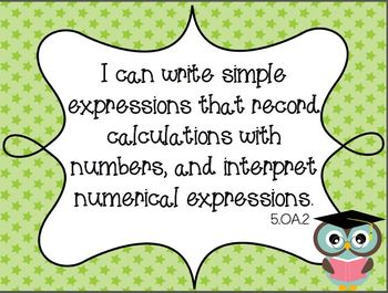 Owl COMBO Common Core Fifth Grade Math and ELA I Can Standards