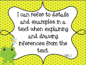 COMBO Common Core Fourth Grade Math and ELA I Can Standards - Frog Theme