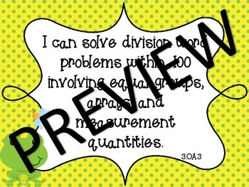 COMBO Common Core Third Grade Math and ELA I Can Standards - Frog Theme
