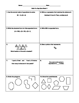 COMBO: Daily Math Review with Quizzes, Grade 5