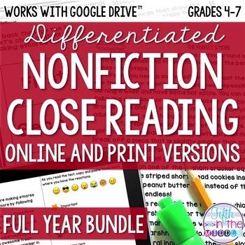 COMBO Differentiated Nonfiction Close Reading Comprehension Bundle {August-June}