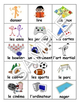 Hobbies / Passe-temps / Summer Activities FRENCH Workbook & Games Package