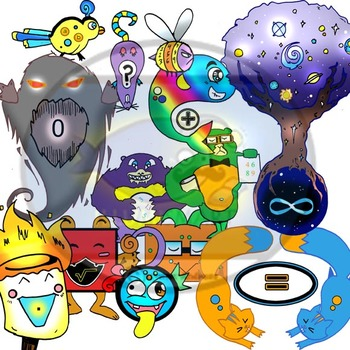COMBO MATH Edumonstrum Anime Monsters and Anime Math Students-64 Pieces BW/Color