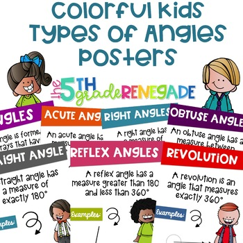 COMBO PACK- Types of Lines & Types of Angles  Posters with a Colorful Kids Theme