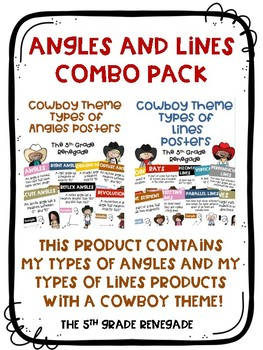 COMBO PACK- Types of Lines & Types of Angles  Posters with a Cowboy Theme