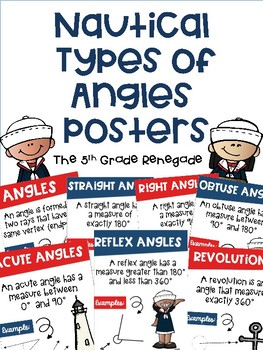 COMBO PACK- Types of Lines & Types of Angles  Posters with a Nautical Theme